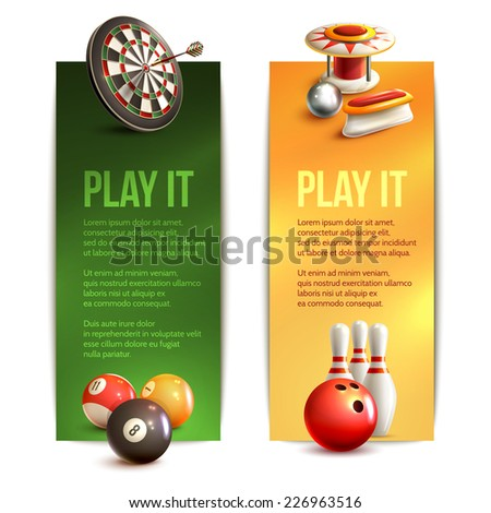 Game realistic vertical banner set with bowling pinball billiard darts isolated vector illustration - stock vector