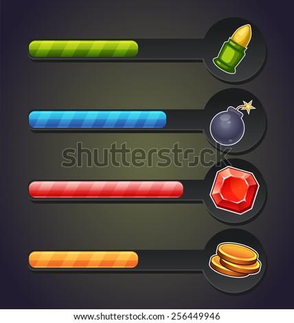 game resource bar - stock vector