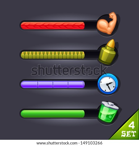 game resource bar-set 4 - stock vector