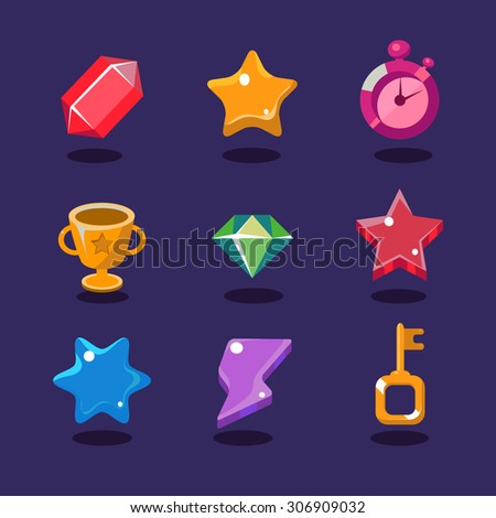 Game resources and elements icons set vector illustration - stock vector