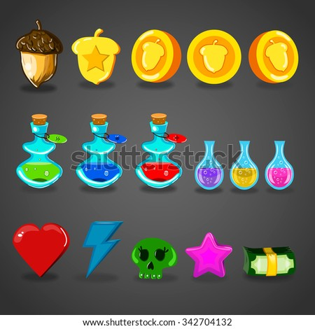 Game resources icons. Interface game illustration. - stock vector