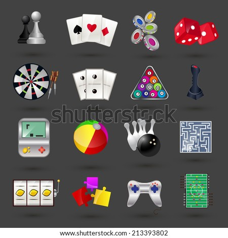 Game sport and gambling casino icons set isolated vector illustration - stock vector