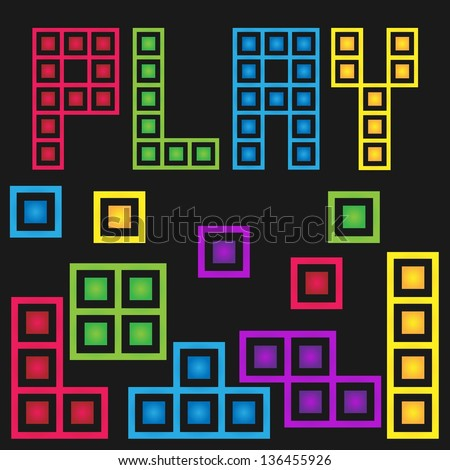 Game stock box with five color - stock vector