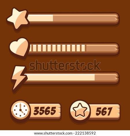 Game Swooden Energy Time Progress Bar Stock Vector 222138592