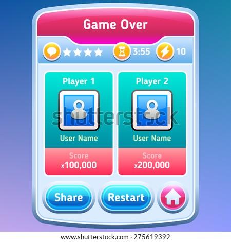 Game UI. Game over screen. Vector eps 10. - stock vector