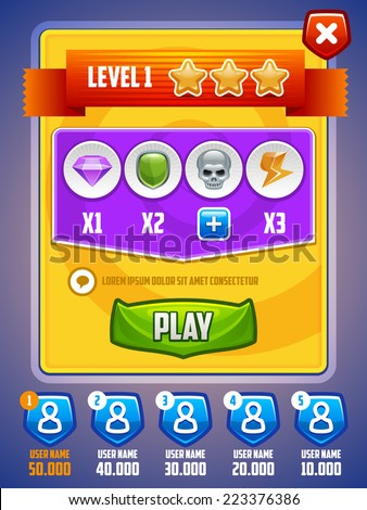 Game UI. Level setup screen. Vector eps 10. - stock vector