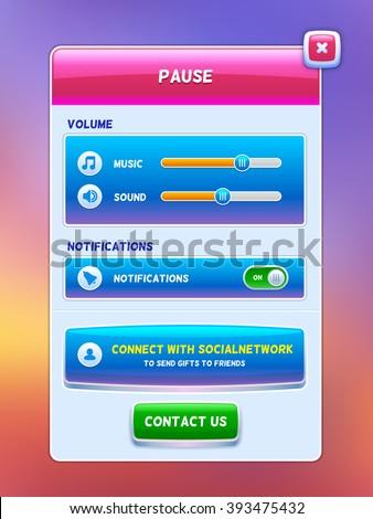 Game UI. Pause menu screen. Creative concept vector interface game design. - stock vector