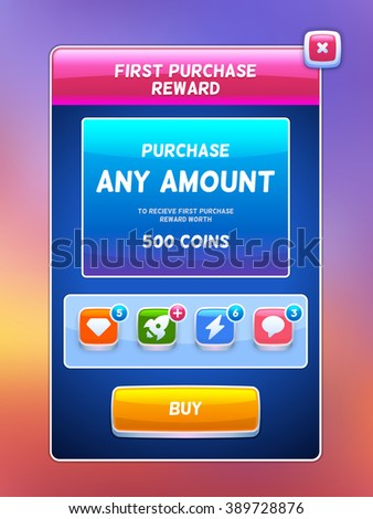 Game UI. Reward purchase screen. Creative concept vector interface game design. Cute tiny monsters. - stock vector
