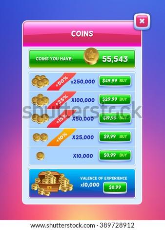 Game UI. Virtual currency bank screen. Creative concept vector interface game design. - stock vector