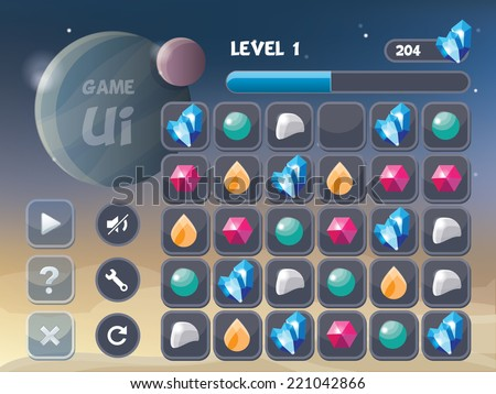 game user interface elements and background image- universe theme vector illustration