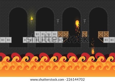 Game world. Computer game screen. Vector Dungeon. - stock vector