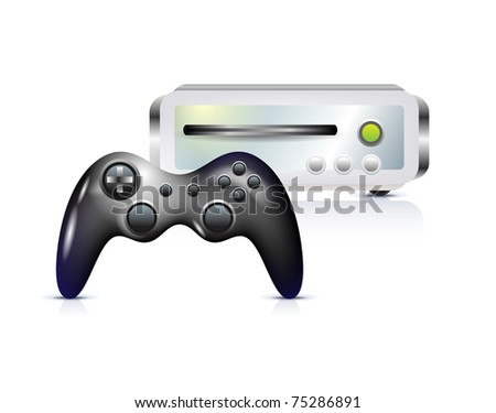 Gamepad with console on white - stock vector