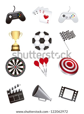 games icons isolated over white background. vector illustration - stock vector