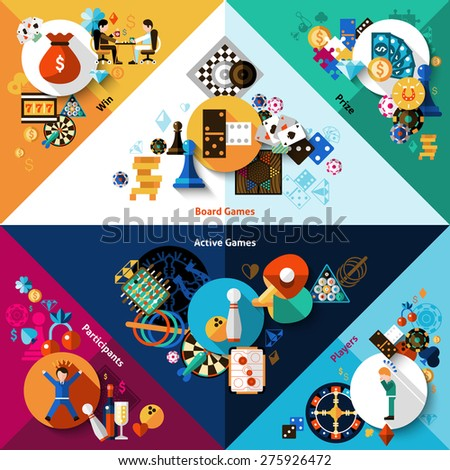 Games of chance table and active sport corners set isolated vector illustration - stock vector