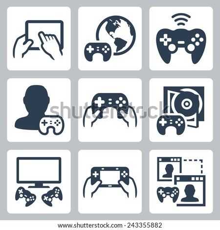 Gaming, video console related vector icon set - stock vector