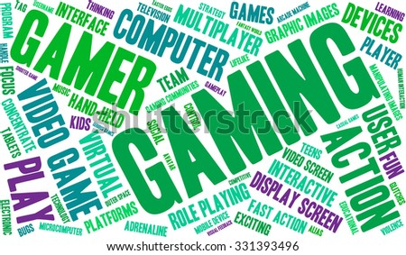 Gaming word cloud on a white background.