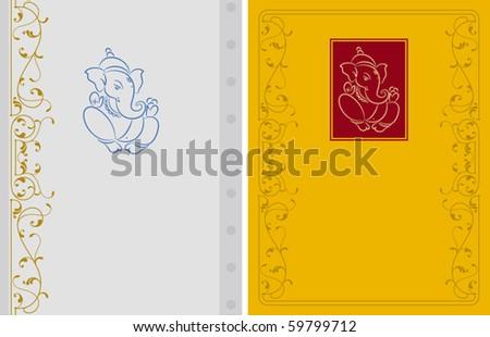 Ganesha Card - stock vector