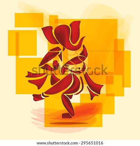 Ganesha or Ganesh Hindu God dance in watercolor painting style. Vector. Eps10. - stock vector