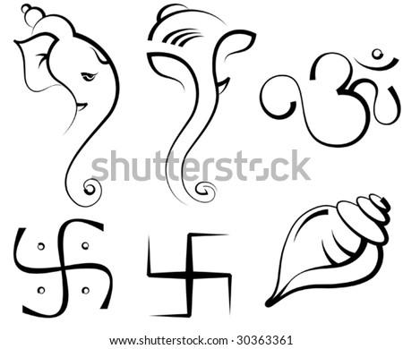 Ganesha, Swastica, Shankh (conch,) - stock vector