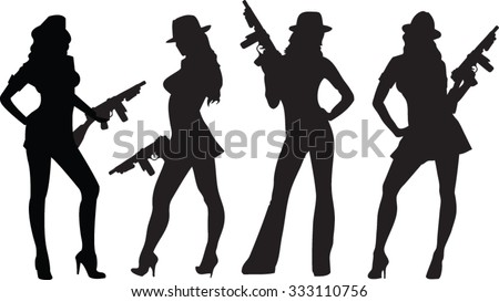 gang gals - stock vector