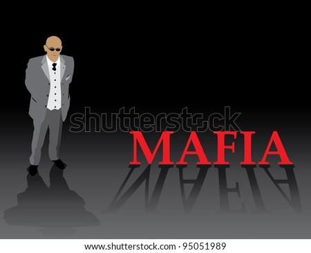 Gangster silhouette on dark background, vector illustration, eps10 - stock vector