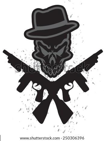 gangster skull - stock vector