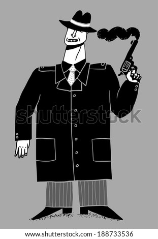 Gangster with smoking gun - stock vector