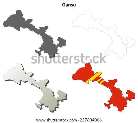 Gansu blank outline map set - stock vector