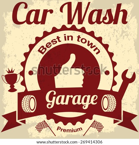 garage and car wash - stock vector