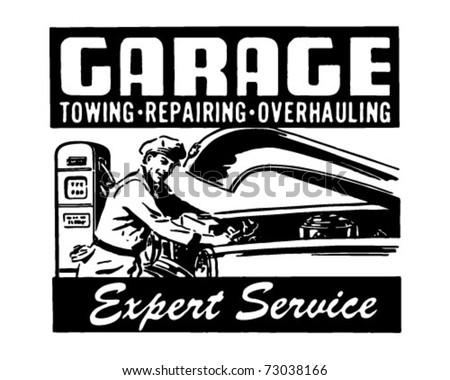 Garage - Expert Service - Retro Ad Art Banner - stock vector