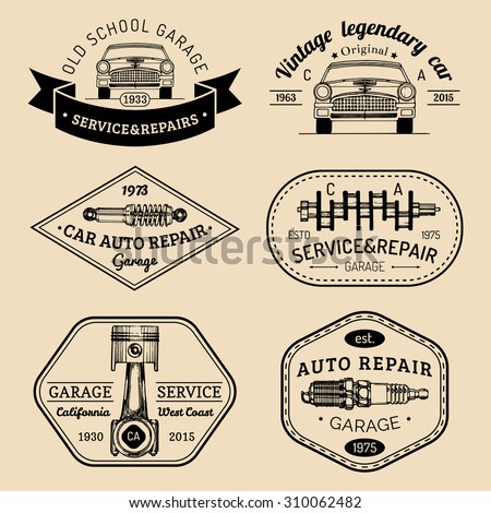 Vintage Collection Car Related Signs Logos Stock Vector - Car signs logos