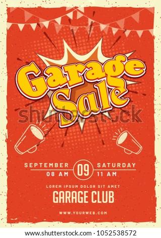 garage yard sale event announcement printable stock vector