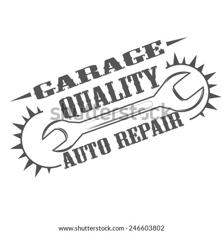 garage quality auto repair logo - stock vector