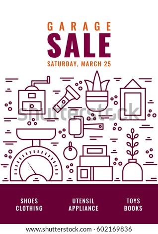 Vector Line Style Illustration Garage Sale Stock Vector 613500176