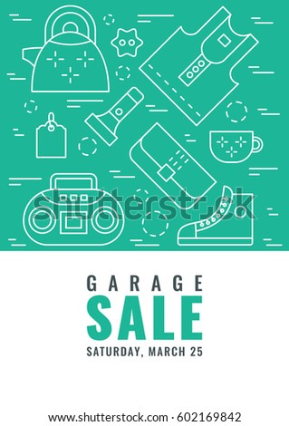 Garage Sale Flyer Template Vector Line Style Illustration