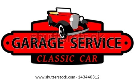 Garage service classic car - stock vector
