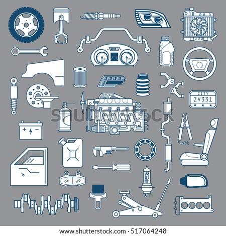 Garage Vector Car Parts Set Outline Stock Vector 517064248 ...