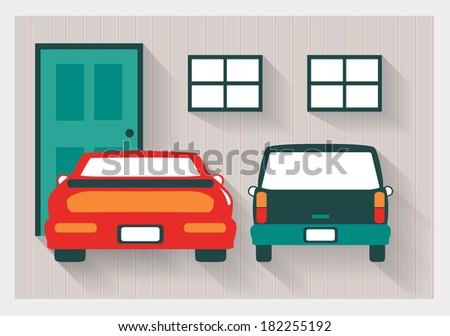 Garage with Red Sports Car and Station Wagon Long Shadows  - stock vector