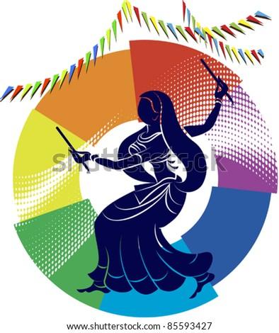 Garba Dancer in rainbow backdrop - stock vector
