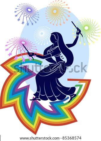 Garba rainbow, fireworks Poster, backdrop design - stock vector
