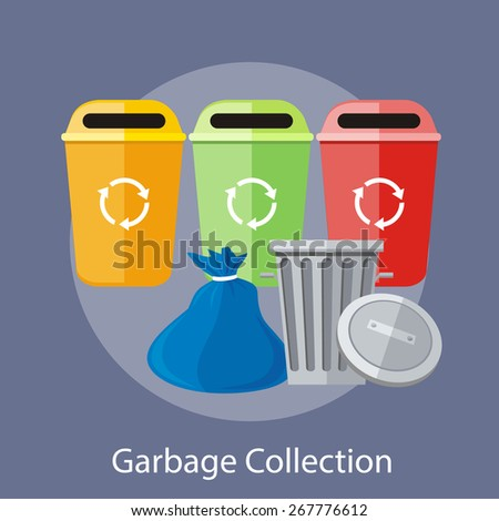 Garbage and recycling cans collection concept. Concept in flat design style. Can be used for web banners, marketing and promotional materials, presentation templates - stock vector