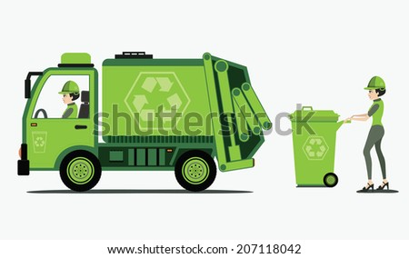 Garbage and trash collection with white background. - stock vector