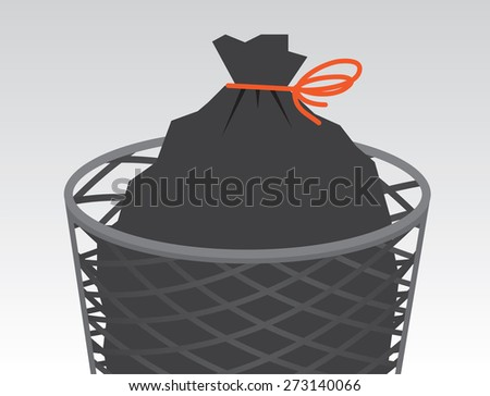 Garbage bag in wire can tied up  - stock vector