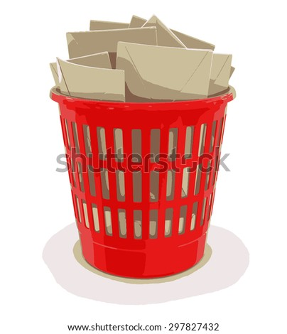 garbage basket and letters - stock vector