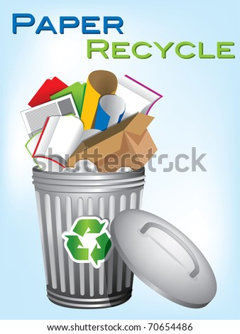 "garbage bin ""paper recycle"" - stock vector"