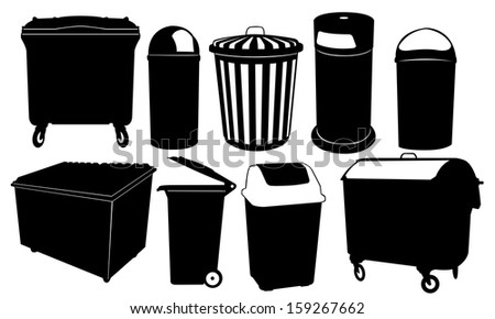 garbage bins set isolated - stock vector