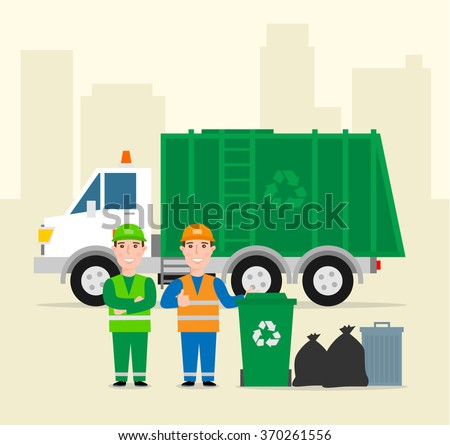 garbage collection .garbage truck garbage man in uniform waste bag recycle bin. waste management concept illustration - stock vector