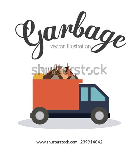 Garbage design over white background, vector illustration. - stock vector