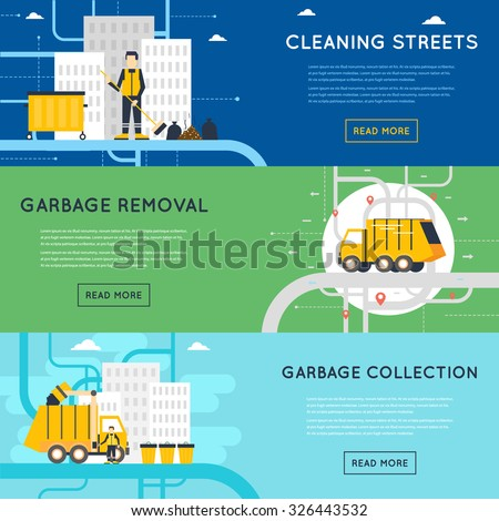 Garbage disposal, sanitary works, employees of garbage collection, cleaning, sorting, processing and recycling of garbage. Flat design vector illustration. 3 banners. - stock vector