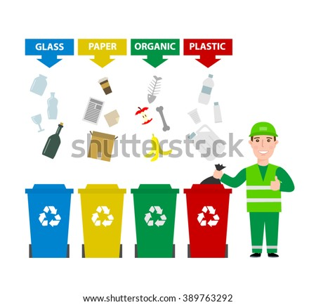 garbage man in uniform with different colors garbage bins cans with sorted waste isolated on white background. garbage waste segregation , waste sorting concept illustration - stock vector